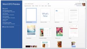 Pantalla de arranque de Microsoft Office Word 2013. Cortesía de Microsoft